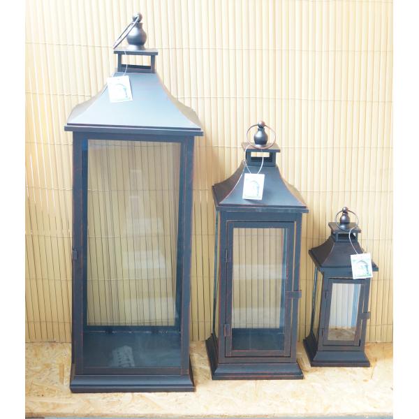 Фонарь - подсвечник, 52 см,  металл, стекло, коричневый