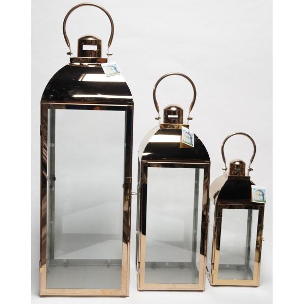 Фонарь - подсвечник, 35 см,  металл, стекло, медный
