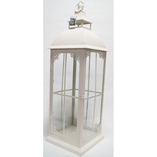 Фонарь - подсвечник, 82 см,  металл, стекло, кремовый