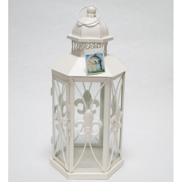 Фонарь - подсвечник, 33,5 см,  металл, стекло, кремовый