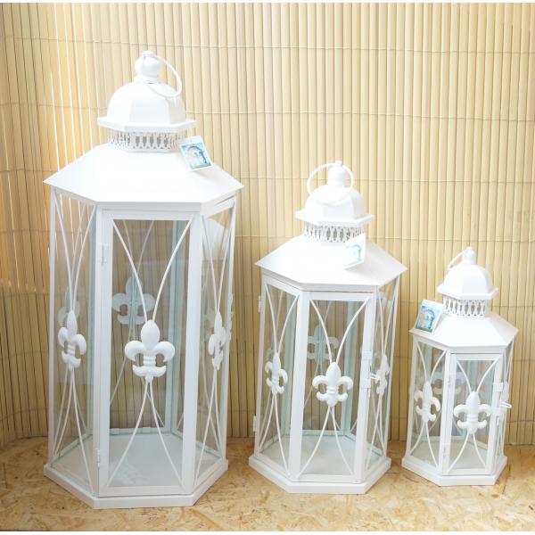 Фонарь - подсвечник, 60 см,  металл, стекло, кремовый