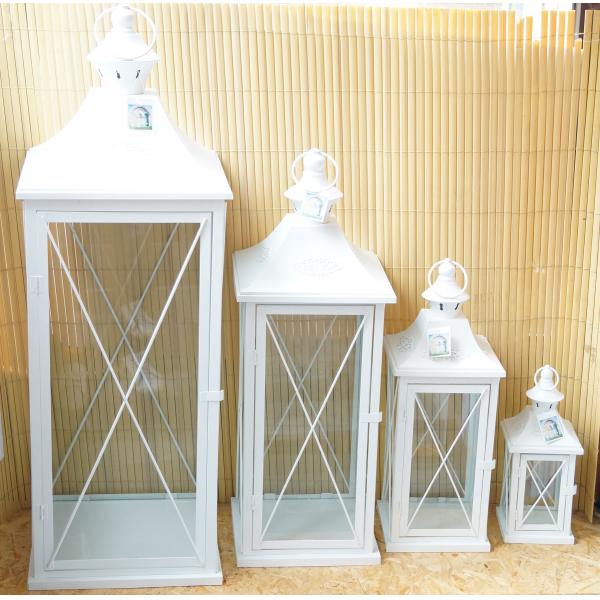 Фонарь - подсвечник, 50 см,  металл, стекло, молочный
