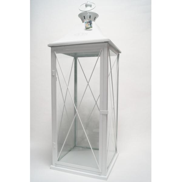 Фонарь - подсвечник, 93 см,  металл, стекло, молочный