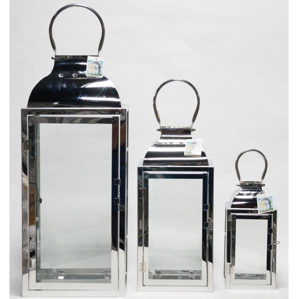 Фонарь - подсвечник, 39 см,  металл, стекло, стальной