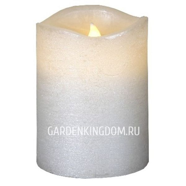 """Свеча, 10 см, включение/отключение нажатием на """"пламя"""", белый блестящий парафин"""