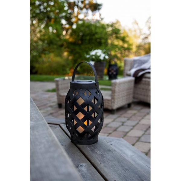 Светильник фонарь движущееся пламя на батарейках FLAMME LANTERN, высота 23 см, ширина 15 см, черный