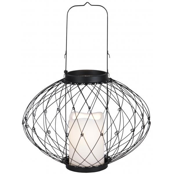 Светильник фонарь  со свечкой на батарейках LANTERN, 35 см, черный