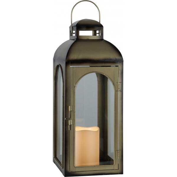Фонарь  со свечкой на батарейках, 43 см, бронза