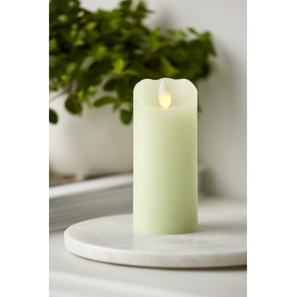Свеча с эффектом мерцающего пламени, 12,5 см, таймер, светло-зеленый воск