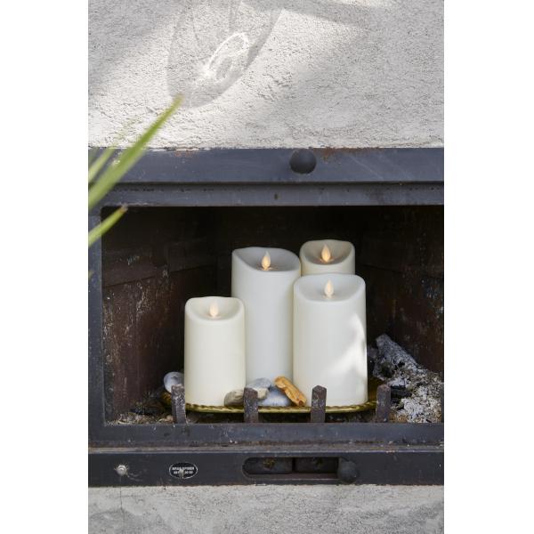 """Свеча пластиковая  M-TWINKLE с эффектом """"живого"""" пламени,  12,5 см, бежевый"""