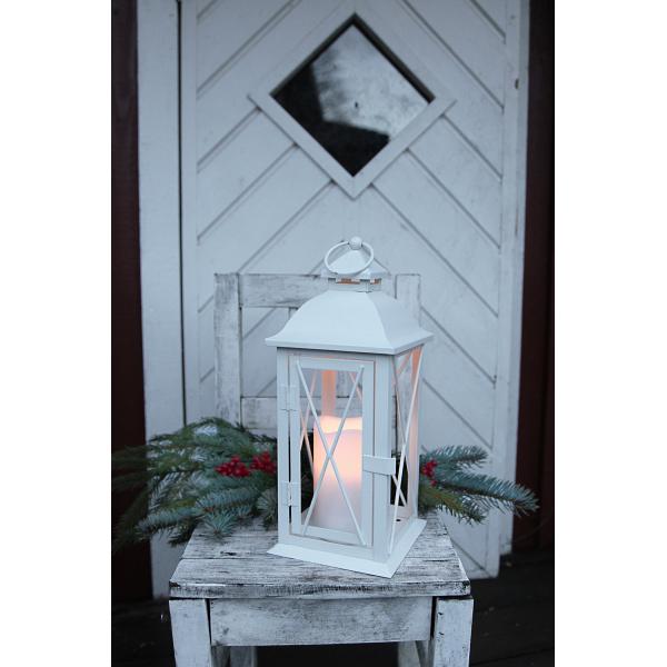 Светильник фонарь  со свечкой на батарейках LANTERN, 32 см, белый