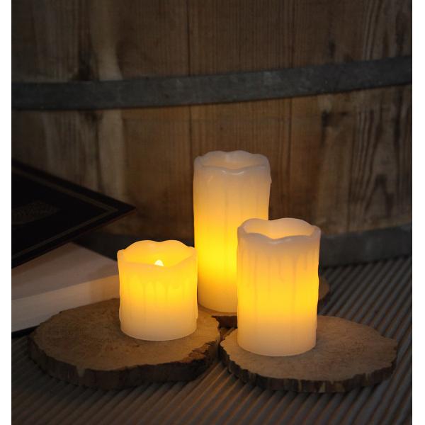 Комплект  свечей с эффектом оплавленной свечи,  3 шт., белый воск