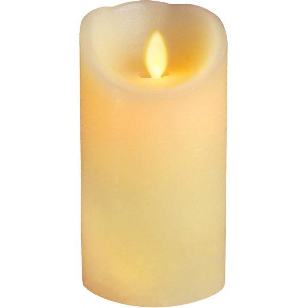 Свеча с эффектом мерцающего пламени, 15 см, таймер,  бежевая
