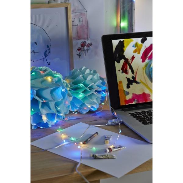 Гирлянда  DEW DROP с USB разъемом, 100 LED ламп, 5,6 м, серебрянный провод, разноцветный
