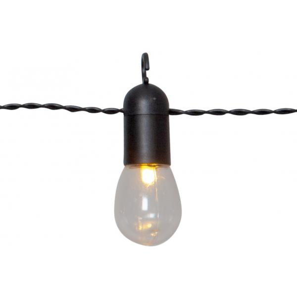 Гирлянда для улицы SMALL HOOKY,16 ламп, длина 4,5 м, черный провод, прозрачные плафоны, теплый белый