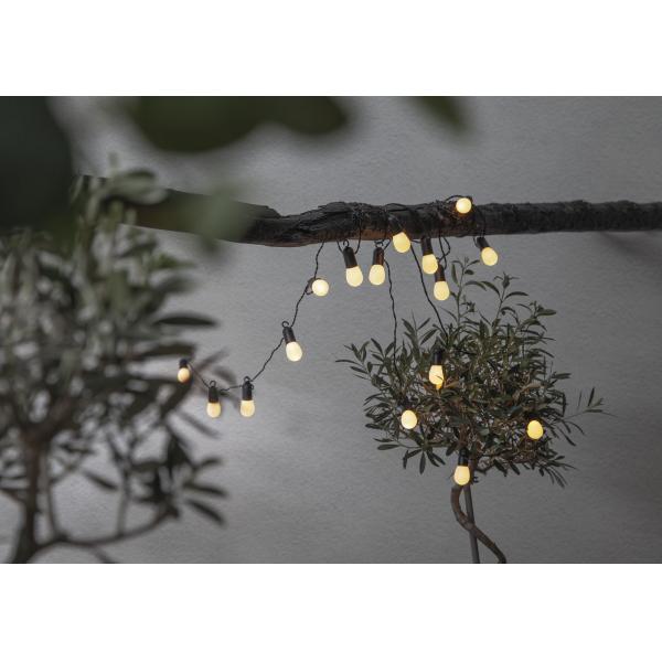 Гирлянда для улицы SMALL HOOKY, 16 ламп, длина 4,5 м, черный провод, матовые плафоны, теплый белый