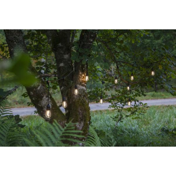 Гирлянда для улицы STRING LIGHT, 10 ламп, длина 3,6 м, черный провод, прозрачный, теплый белый