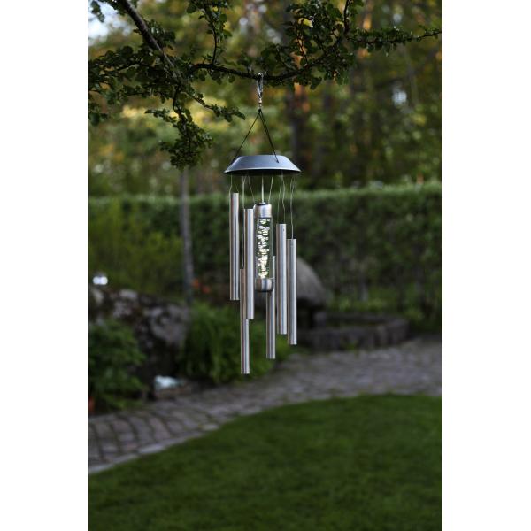"""Садовый светильник BUBBLY  Solar energy, """"музыка ветра"""" 35 см, цвет стальной"""
