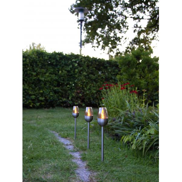 Садовые светильники TOULON Solar energy, 3 штуки, 37 см,  цвет - сталь