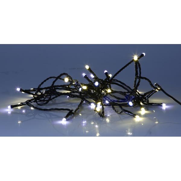 Гирлянда для улицы, 80 ламп, холодный белый и теплый желтый, черный провод, серия SERIE LED