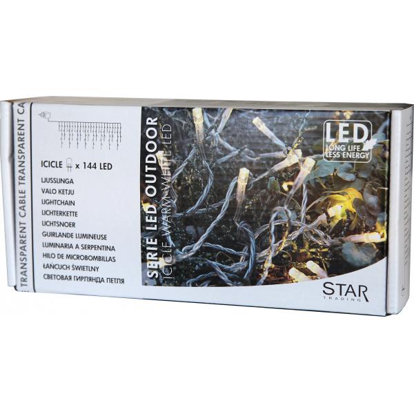 Гирлянда-занавес, 144 лампы, 4 х0,4 м,  теплый желтый, прозрачный провод, серия SERIE LED