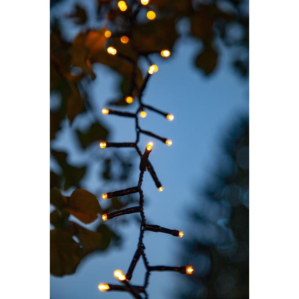 Гирлянда для улицы, 180 ламп, 3,6 м, золотистый теплый белый, черный провод, серия SERIE LED