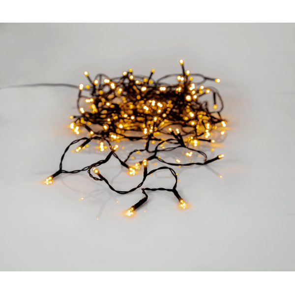 Гирлянда для улицы, 180 ламп, 12,6 м, золотистый теплый белый, черный провод, серия SERIE LED