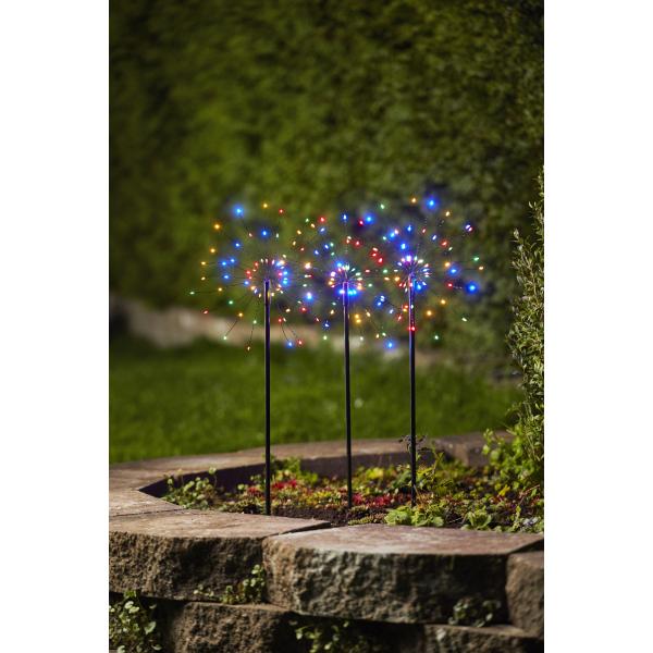 Светильник декоративный для улицы FIREWORK OUTDOOR, комплект из трех штук, 65 см, черный, мультицвет