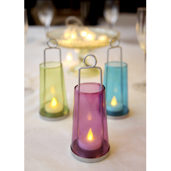 Светильник фонарь с цветным стеклом со свечкой на батарейках, 17 см, 3 штуки.