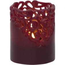 Свеча CLARY с кружевным узором, 10 см, красный