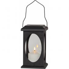 Светильник фонарь  с 3D свечой на батарейках FLAMME, высота 23 см, ширина 13,5 см, черный