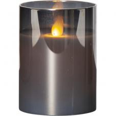 Свеча M-TWINKLE в прозрачном стакане, 10 см, дымчатый