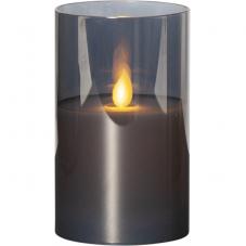 Свеча M-TWINKLE в прозрачном стакане, 12,5 см, дымчатый