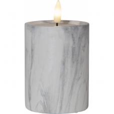 Свеча с 3D пламенем FLAMME, 12,5 см, таймер, мраморная