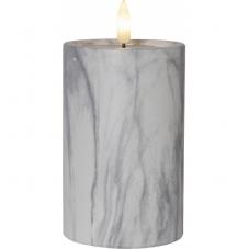 Свеча с 3D пламенем FLAMME, 15 см, таймер, мраморная
