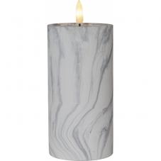 Свеча с 3D пламенем FLAMME, 17,5 см, таймер, мраморная