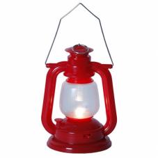 Фонарь  со свечкой на батарейках, 16 см, красный