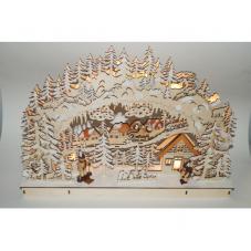 Светильник рождественский ЗИМНЯЯ ДЕРЕВНЯ, 33 см, бежевый
