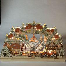 Светильник рождественский ЧУДЕСНЫЙ ПРАЗДНИК, 39 см, светлое дерево
