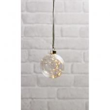 Светильник подвесной шар GLOW на батарейках, диаметр 11 см, прозрачный,  теплый белый