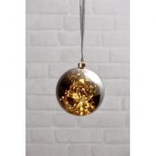 Светильник подвесной шар GLOW, диаметр 15 см, дымчатый, теплый белый