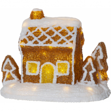 Светильник рождественский CRYSTALINE Пряничный домик на батарейках, высота 20 см, ширина 26 см.