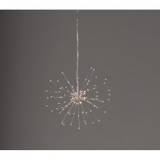 Светильник-подвес FIREWORK, диаметр 26 см, теплый белый, серебряный