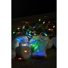Гирлянда STRING DEW DROP, на батарейках, 40 LED ламп, длина 4 м, разноцветный, серебряный провод