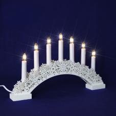 Горка рождественская КАРЕЛИЯ, 7 свечей, 24,5 см, белый