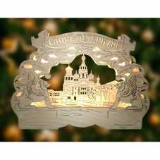 Светильник Санкт-Петербург, СПАС НА КРОВИ, 20 см, на батарейках, светлое дерево