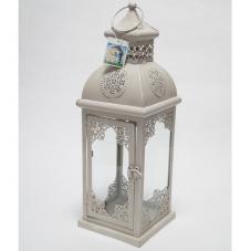 Фонарь - подсвечник, 45 см,  металл, стекло,  серый