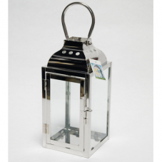 Фонарь - подсвечник, 25,5 см,  металл, стекло, стальной