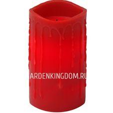 Свеча с эффектом оплавленной свечи, 15 см, таймер, красный воск