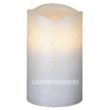 """Свеча, 12,5 см, включение/отключение нажатием на """"пламя"""", белый блестящий парафин"""